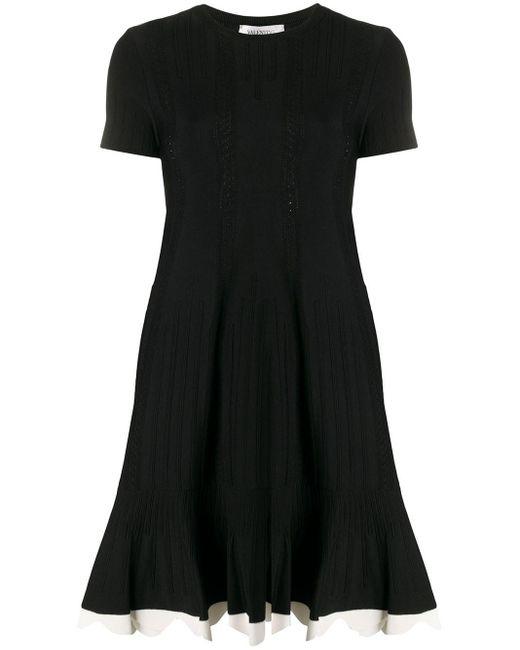 Valentino スカラップ ニットドレス Black