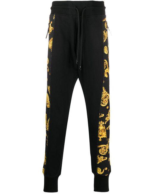 メンズ Versace Jeans バロック スウェットパンツ Black