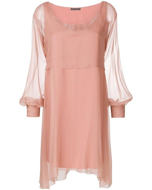 Alberta Ferretti - Pink Chiffon Mini Cape Dress - Lyst