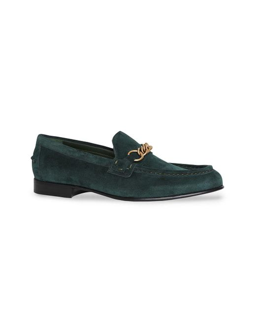 659a25460b2 ... Burberry - Green The Suede Link Loafer for Men - Lyst ...