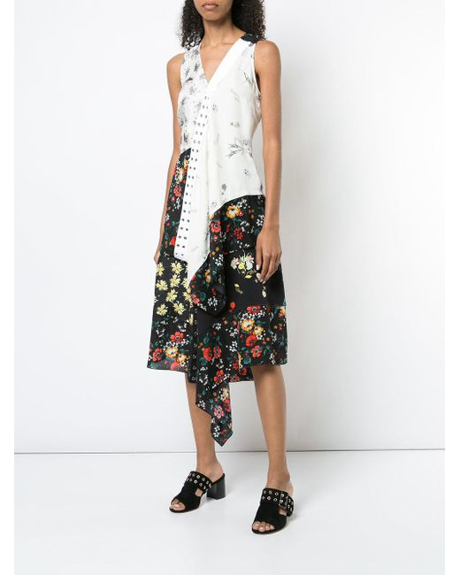 Derek Lam Black Mixed Botanical-print Asymmetric Silk Skirt