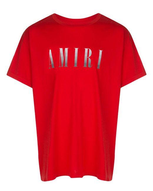 メンズ Amiri グラデーション ロゴ Tシャツ Red