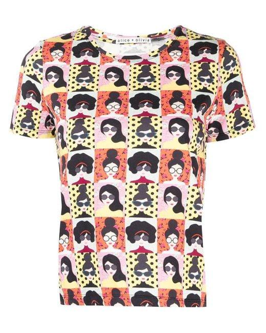 Alice + Olivia Black Stace Face-print Cotton T-shirt