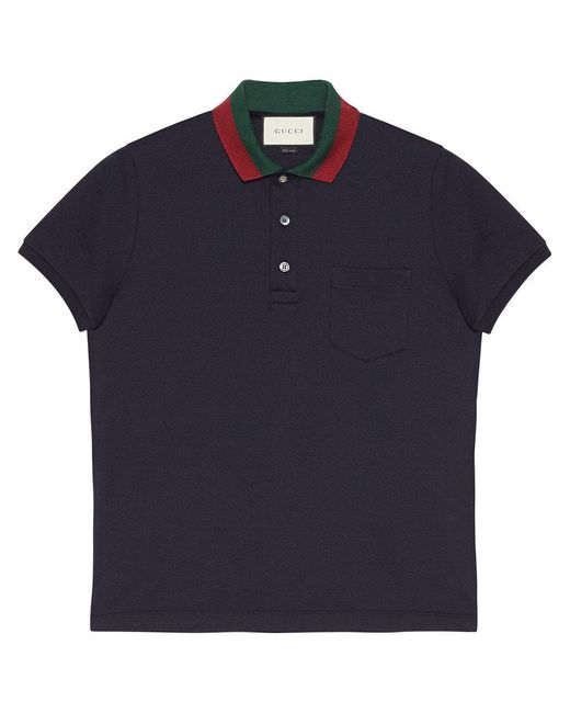 a2f1f39cd12 Lyst - Gucci Cotton Polo With Web Collar in Blue for Men - Save 4%