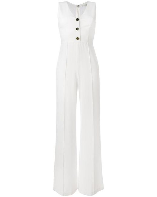 Alice + Olivia - White V-neck Jumpsuit - Lyst