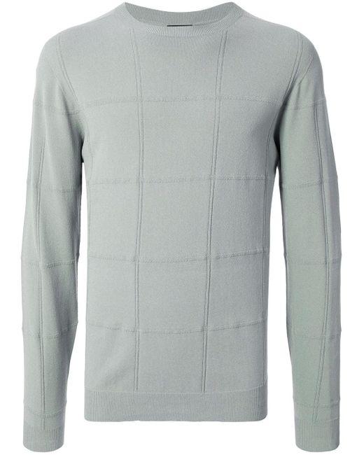 メンズ Giorgio Armani チェッカー スウェットシャツ Gray