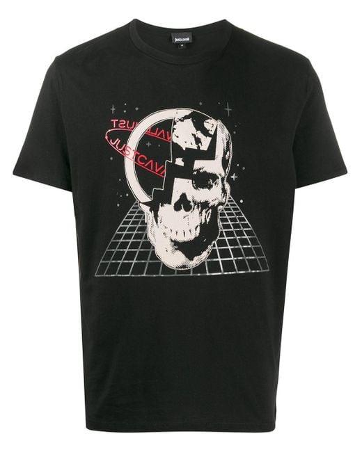 メンズ Just Cavalli スカルプリント Tシャツ Black