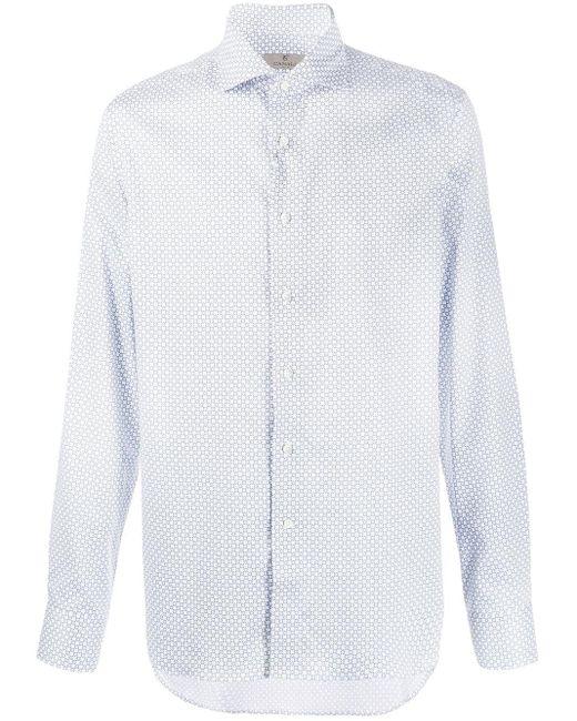 メンズ Canali パターン シャツ White