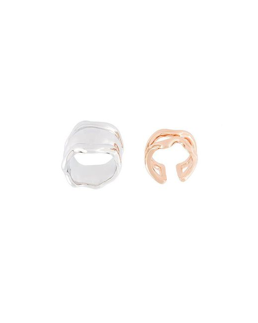 Eshvi - Metallic Set Of Two Wavy Motif Rings - Lyst