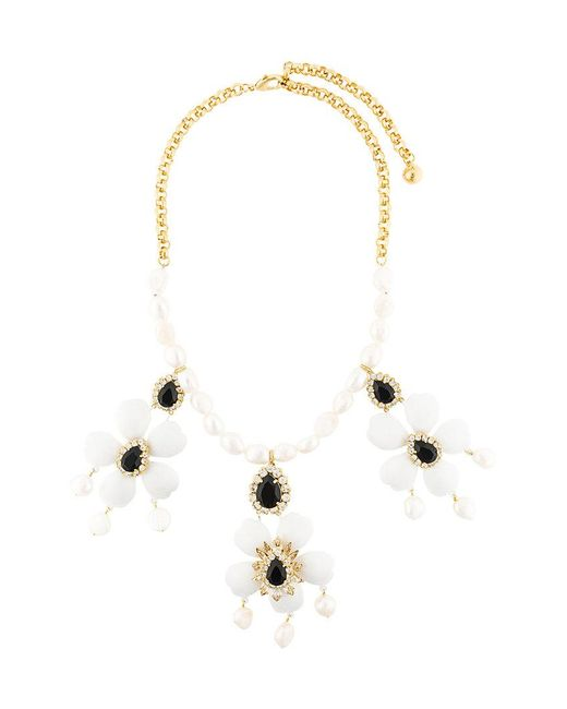 Shourouk | White Floral Pendant Necklace | Lyst