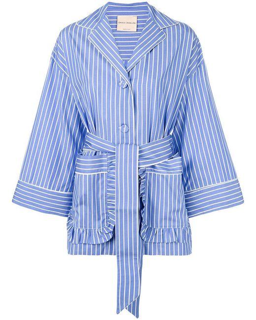 Erika Cavallini Semi Couture   Blue Tied Stripe Pyjama Shirt   Lyst