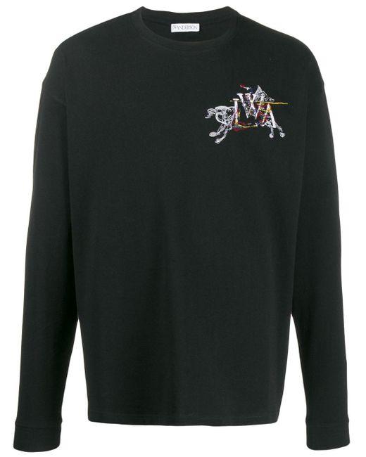 メンズ J.W. Anderson ロゴ Tシャツ Black