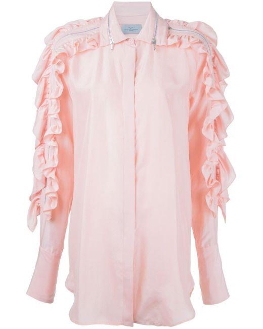 Preen By Thornton Bregazzi ラッフルシルクシャツ Pink