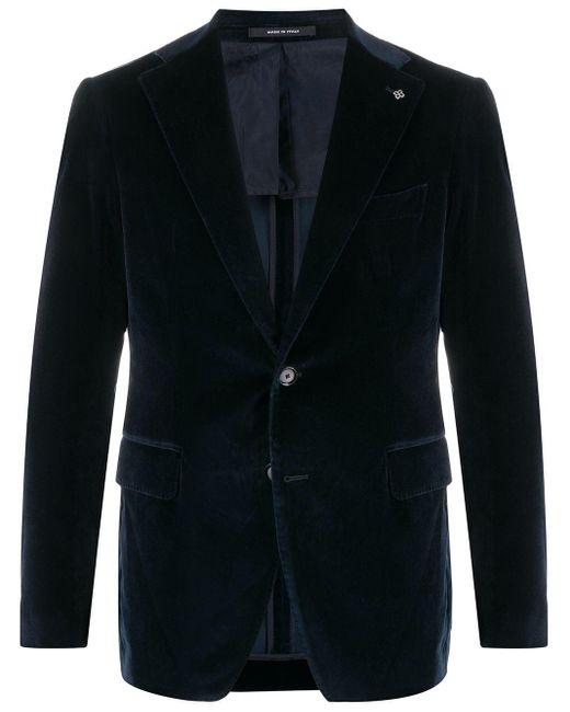 メンズ Tagliatore ベルベット シングルジャケット Blue