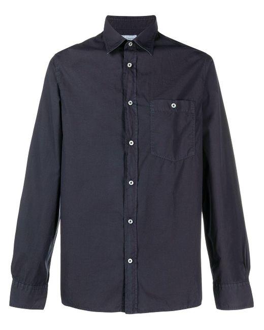 Officine Generale Blue Patch-pocket Long Sleeved Shirt for men