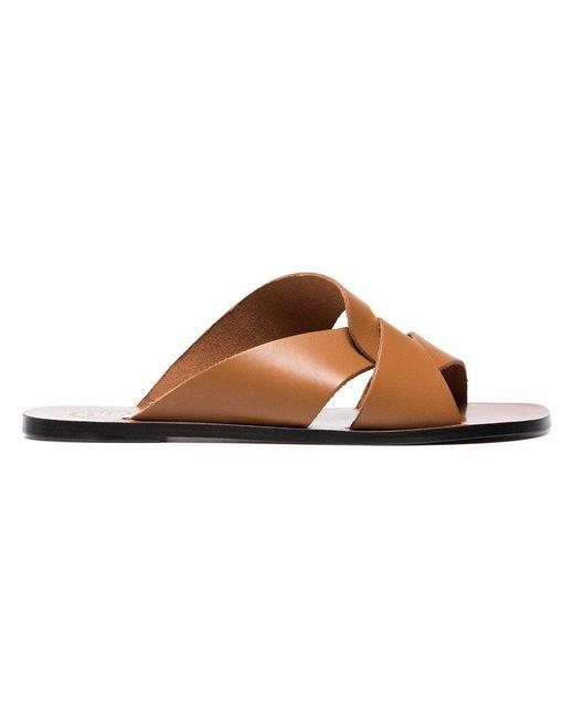 Atp Atelier - Brown Allai Cutout Leather Sandals - Lyst