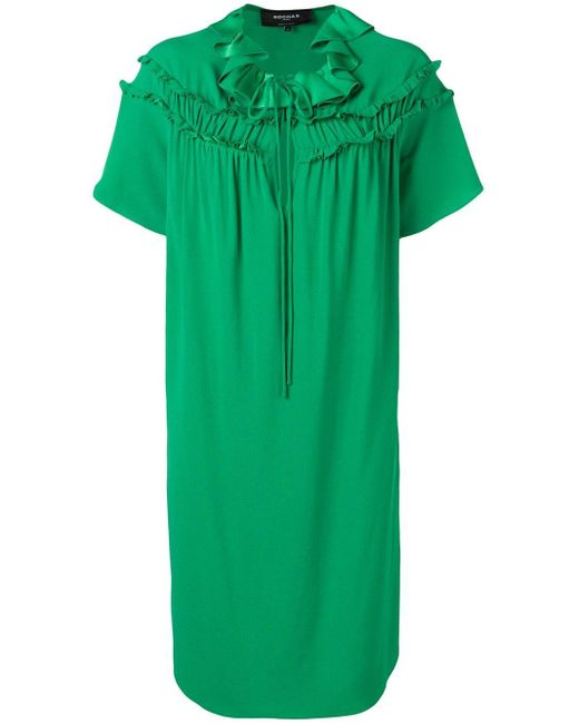 Vestido tubo con volantes Rochas de color Green