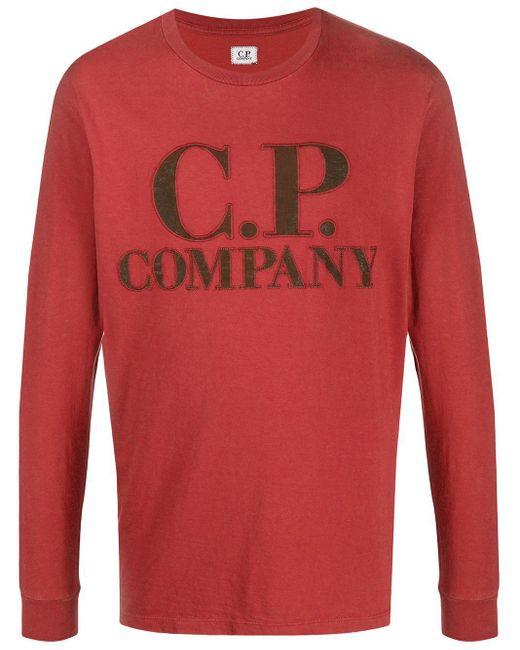 メンズ C P Company ロゴ スウェットシャツ Red