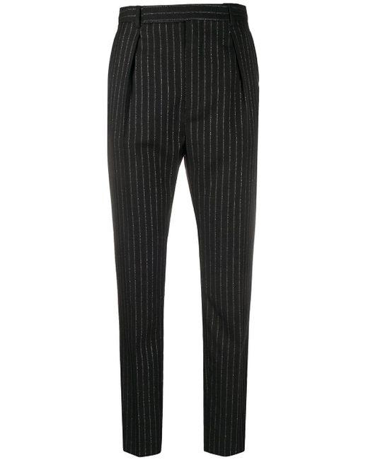 Брюки В Тонкую Полоску С Завышенной Талией Saint Laurent, цвет: Black