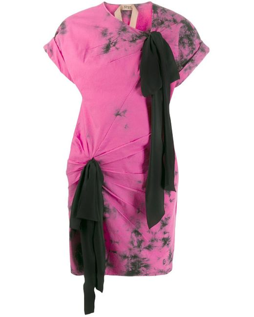 Платье-футболка С Принтом Тай-дай N°21, цвет: Pink