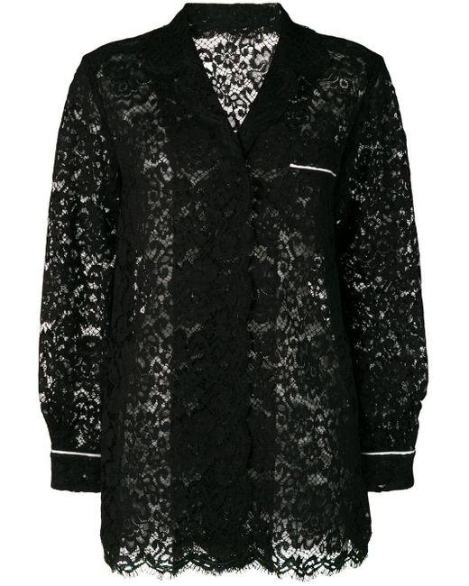 Dolce & Gabbana シアーレース シャツ Black