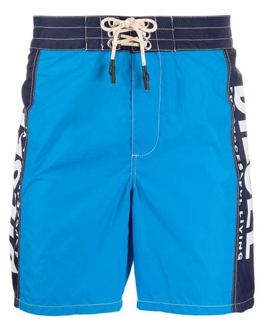 DIESEL Blue Wave Long Swim Shorts for men