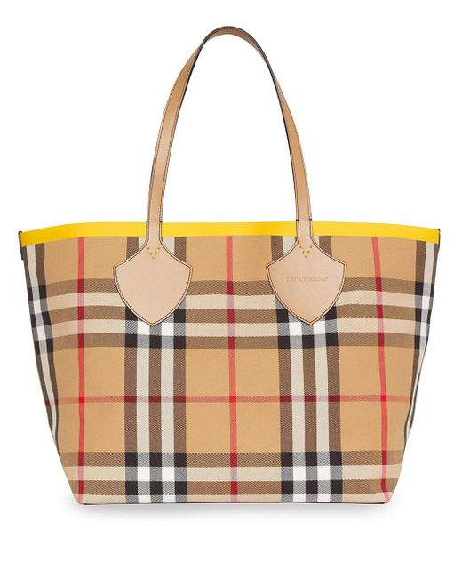 Burberry チェック トートバッグ Brown