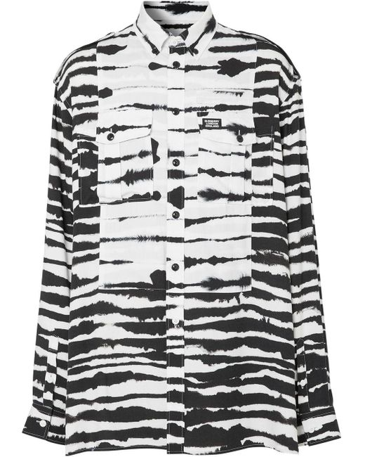 メンズ Burberry プリント オーバーサイズ シャツ Black