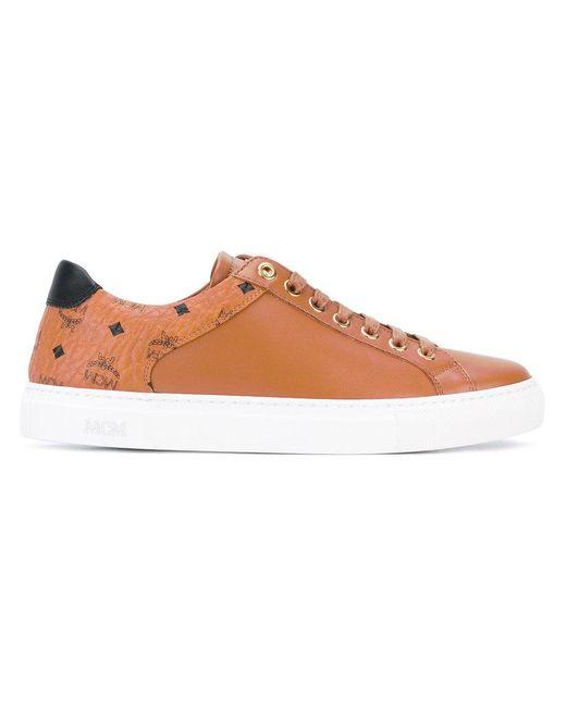 MCM | Brown Monogram Sneakers | Lyst