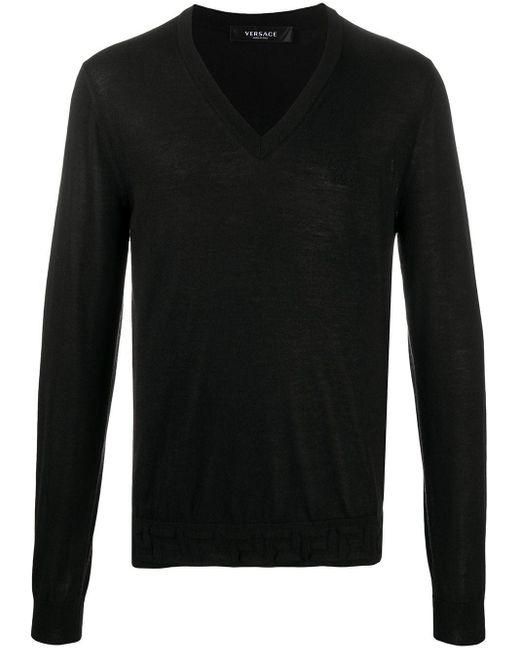 メンズ Versace グレカディテール プルオーバー Black