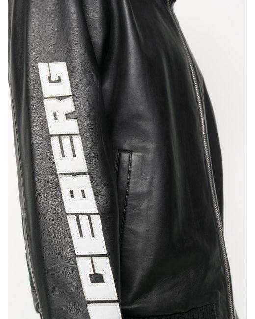 メンズ Iceberg レザージャケット Black