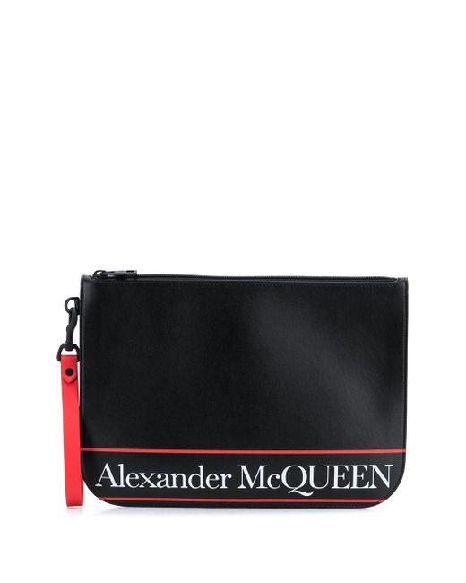 メンズ Alexander McQueen ロゴ クラッチバッグ Black