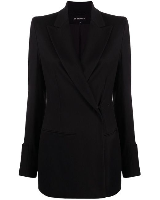 Ann Demeulemeester Black Fitted Double-breasted Blazer