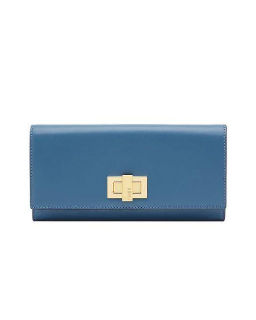 b6f588d202bc Fendi - Blue Peekaboo Continental Wallet - Lyst ...
