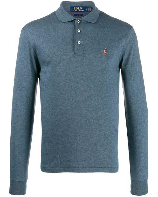 メンズ Polo Ralph Lauren ロングスリーブ ポロシャツ Blue