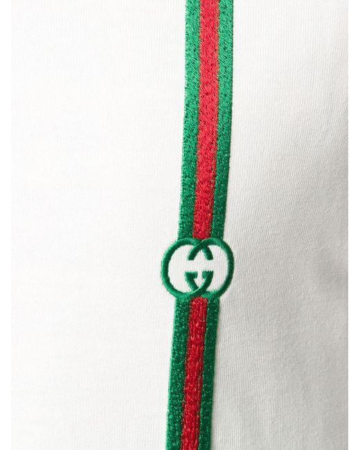 メンズ Gucci ロゴ ストライプ ポロシャツ White