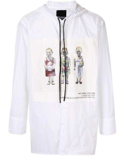 メンズ BMUET(TE) プリント フーデッドシャツ White