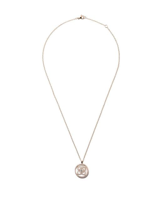 De Beers Enchanted Lotus マザーオブパール ラージ メダル ダイヤモンド ペンダント ネックレス 18kローズゴールド Metallic
