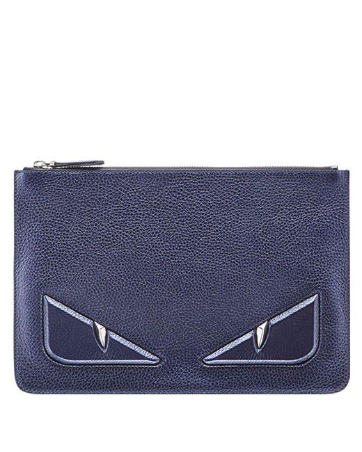 Pochette zippée à appliques Fendi pour homme en coloris Blue