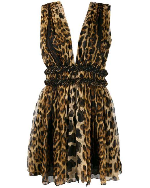 Платье Мини С Анималистичным Принтом Saint Laurent, цвет: Multicolor