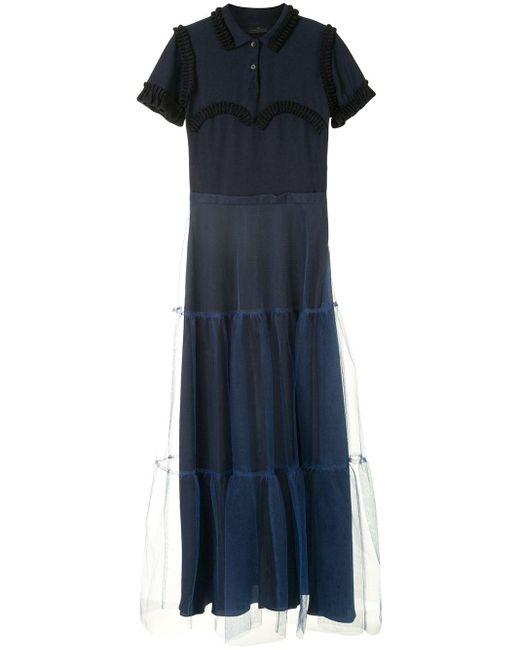 ROKH シャーリング フレアドレス Blue