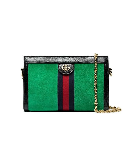 3fc1bbc8c65 Gucci Green Ophidia Web Small Suede Shoulder Bag in Green - Save  24.975736007764482% - Lyst