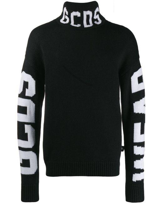 メンズ Gcds ブラック ロゴ タートルネック Black