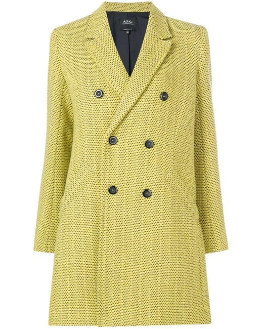 A.P.C. Yellow Textured Double-breasted Coat