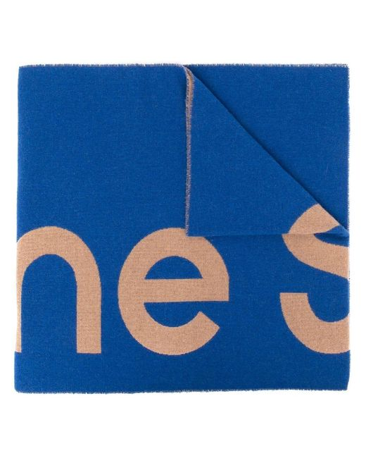 Acne ジャカードロゴ スカーフ Blue