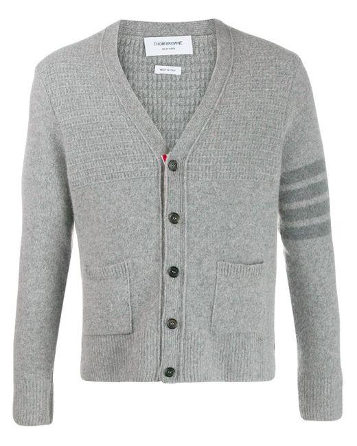 Thom Browne Gray 4-bar V-neck Cardigan for men