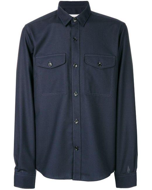 メンズ AMI フロントボタン オーバーシャツ Blue
