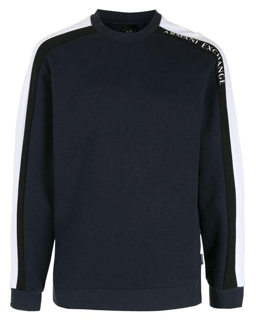 メンズ Armani Exchange コントラストストライプ スウェットシャツ Blue
