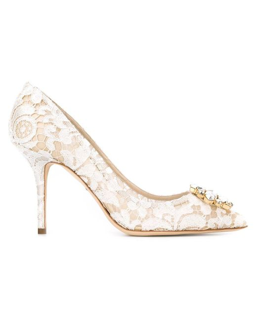 Dolce & Gabbana White Embellished Lace Pumps