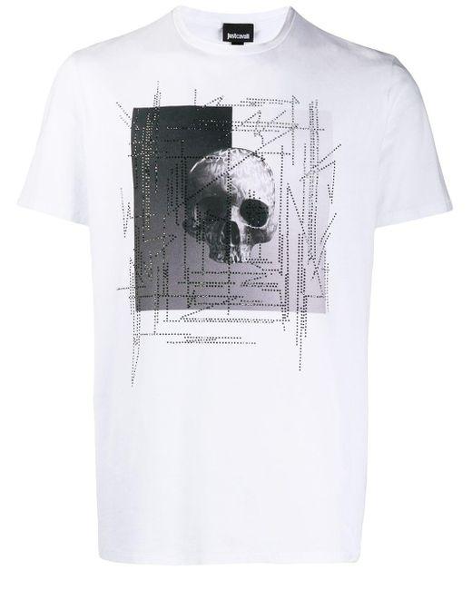 メンズ Just Cavalli スカル Tシャツ White